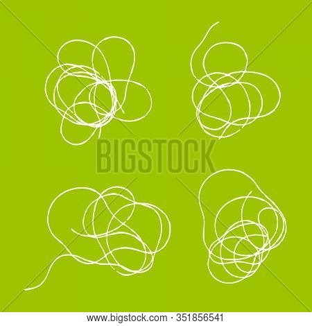Thread Scribble Petals, Flowers, Spots, Nests, Clouds. Set Of Tangled Threads. Outline Abstract Scra