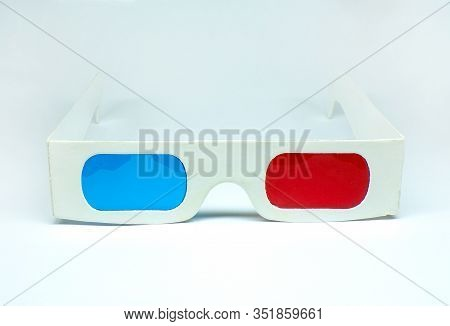 3d Glasses Isolated On A White Background. 3d Glasses For Viewing Movies And Cartoons In Three-dimen