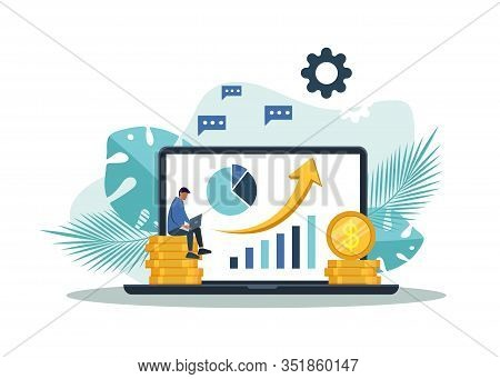 Banking Business Concept Illustration Of A Man Sitting On Coins And Using A Computer For Online Bank