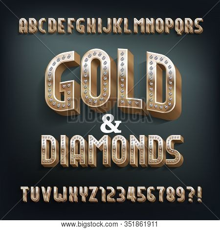 Gold And Diamonds Alphabet Font. 3d Golden Metal Letters And Numbers. Stock Vector Typeset For Your