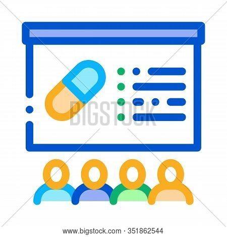 Pills Blackboard Icon Vector. Outline Pills Blackboard Sign. Isolated Contour Symbol Illustration
