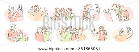 Young And Elder People, Selfie Set Concept. Different People, Bloggers, Family And Couples In Love,