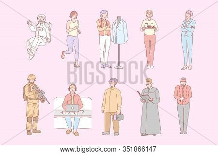 Different People Occupations, Set Concept. People Boys And Girls Occupated In Different Jobs Or Work