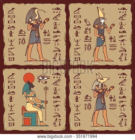 Set Of Vector Banners In The Form Of Ceramic Tiles With Egyptian Gods And Hieroglyphs. Colored Illus