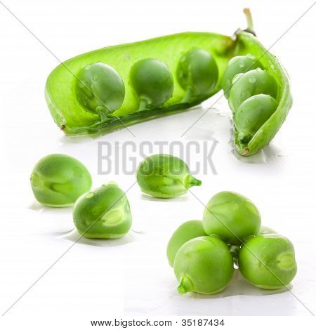 Fresh green pea pod and peas
