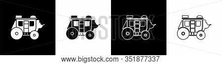 Set Western Stagecoach Icon Isolated On Black And White Background. Vector Illustration