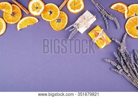 Organic Natural Set Made Of Lavender And Orange Pieces Of Soap Packed With Dried Lavender, Orange Sl