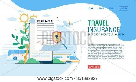 Online Service For Journey Insurance. Tour Agency Landing Page Offer Safe Movement By Bus, Airplane