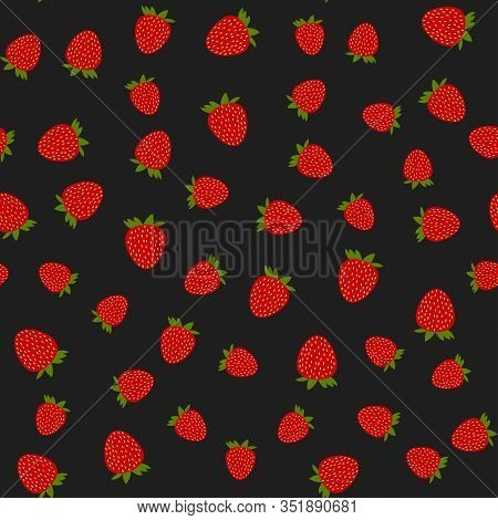 Seamless Strawberry Vector Pattern On Black Background