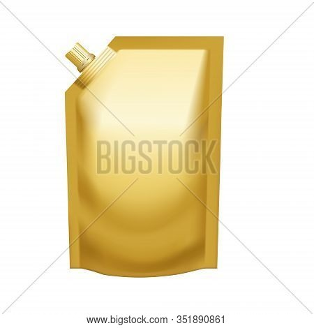 Realistic Golden Pouch Doypack With Side Spout