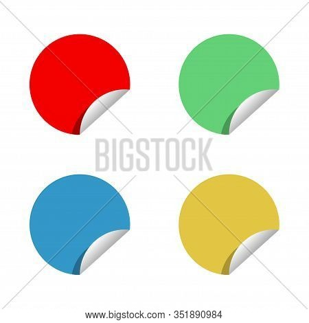 Colored Round Stickers Vector Isolated On White Background