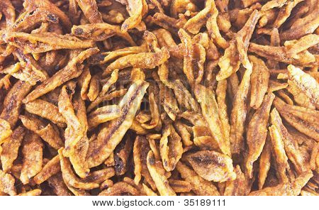 Closeup Of Fried Anchovies, Asian Food