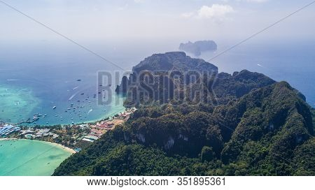 Aerial Drone Photo Of Bay And Iconic Tropical Beach And Resorts Of Phi Phi Island, Thailand