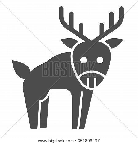 Deer Solid Icon. Horned Wild Forest Animal Silhouette. Animals Vector Design Concept, Glyph Style Pi