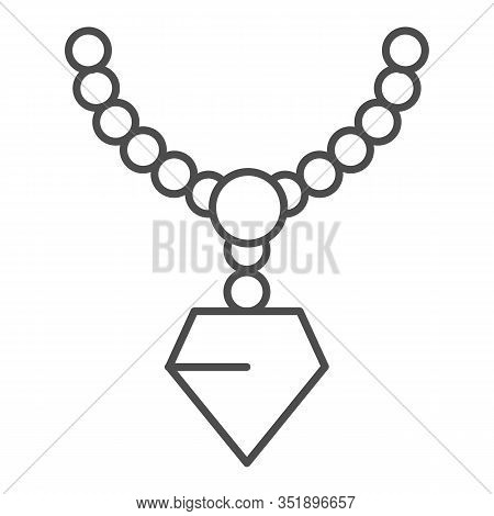 Pendant With Gemstone Thin Line Icon. Chain With Pendant Vector Illustration Isolated On White. Jewe