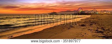 Santa Monica Historic Landmark, California, United States. Amazing Landscape Of Iconic Santa Monica