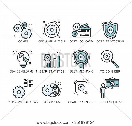 Engineering Vector Icons Set. Contains Such Icons As Manufacturing, Engineer, Production, Settings A