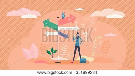 Decision Crossroads Concept, Flat Tiny Businessman Person Vector Illustration. Direction Pointing Ro