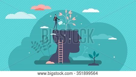 Mind Growth Progress Concept, Flat Tiny Person Vector Illustration. Head Silhouette With Businessman
