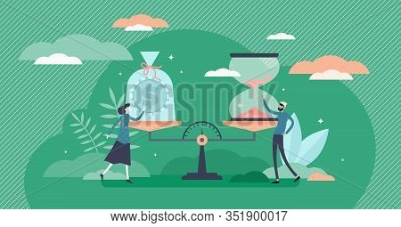 Time And Money Value Concept, Flat Tiny Person Vector Illustration. Evaluating Time Investment Versu
