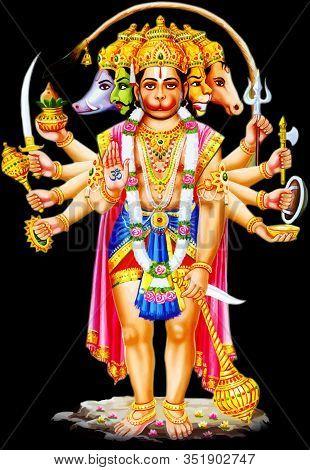 Indian God Monkey Holy Hanuman Jayanti Faith Mythology Illustration