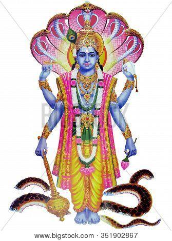 Lord  Vishnu  Krishna Festival Music Hinduism Culture Mythology Snake Illustration
