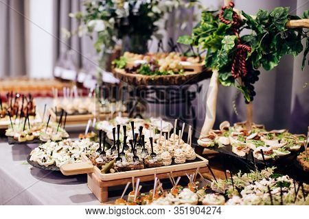 A Variety Of Delicious Appetizers, Snacks On The Table At A Party