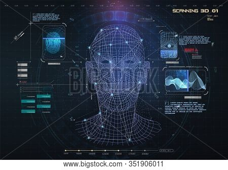 Biometric Identification Or Recognition System Of Person. The Facial Recognition Technology Fingerpr