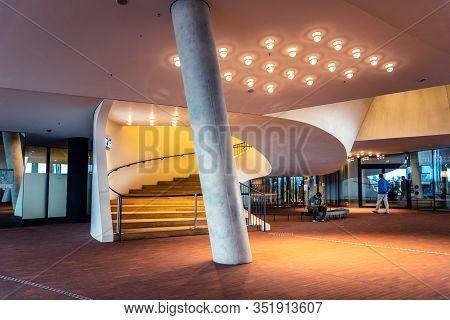 Hamburg, Germany - August 4, 2019: Interior View Of The Foyer Of Elbphilharmonie Or Elbe Philharmoni