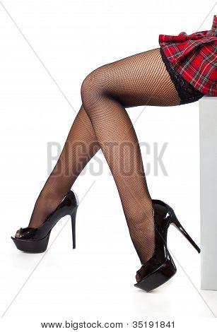 Ноги в чулках крупным планом фото