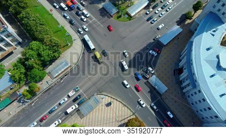Top View Of City Blocks, View Of Streets With Car Traffic