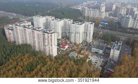 Aerial View To The Modern Residential Buildings. Exterior Of High-rise Residential Building The Faca