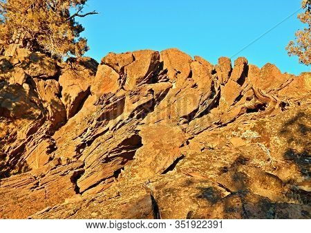 Golden Formation - Late Afternoon Scene In Winter At The Rocks At Tumalo Canal Trailhead - North Of