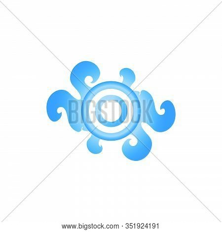 Letter O Decorative Brooch Alphabet Logo isolated on white Background. Elegant Curl & Floral Logo Concept. Luxury Blue Topaz Initial Abjad Logo Design Template. EPS 10 File Project