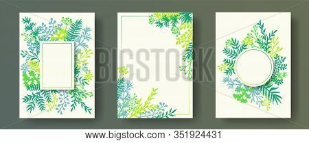 Cute Herb Twigs, Tree Branches, Flowers Floral Invitation Cards Collection. Herbal Corners Vintage I