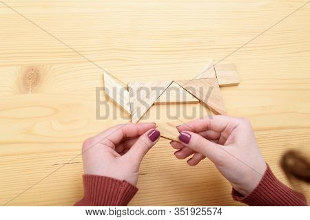 Girl Collects A Wooden Tangram Puzzle On A Wooden Table.