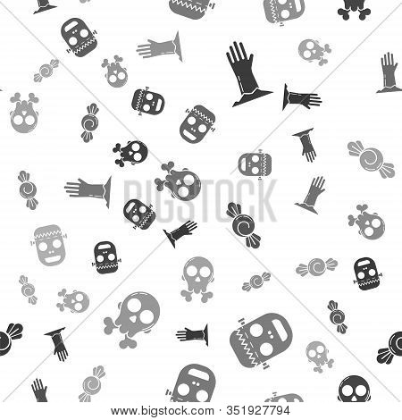 Set Zombie Hand , Zombie Mask , Candy And Skull On Crossbones On Seamless Pattern. Vector