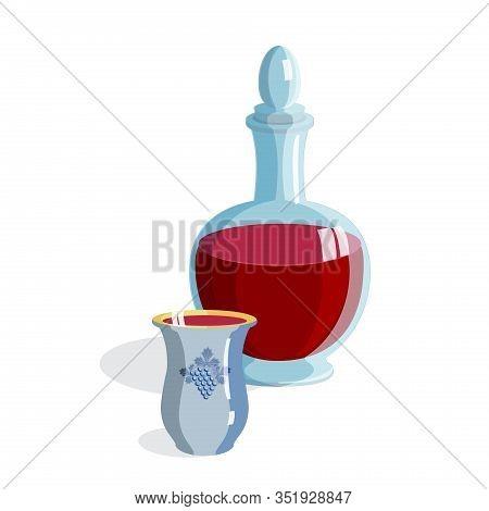 Wine bottle with kiddush glass isolated on white background for Jewish holiday passover, shavuot, rosh hashanah, hanukkah, purim, sukkot, celebrate, drink, food, vector