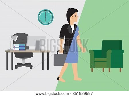 Businesswoman Transforms From Office Into Her Home. Concept Of Work Life Balance Or Transformation.