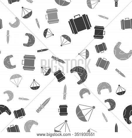 Set Military Ammunition Box, Parachute , Military Helmet And Military Knife On Seamless Pattern. Vec