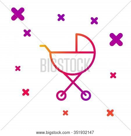 Color Line Baby Stroller Icon Isolated On White Background. Baby Carriage, Buggy, Pram, Stroller, Wh