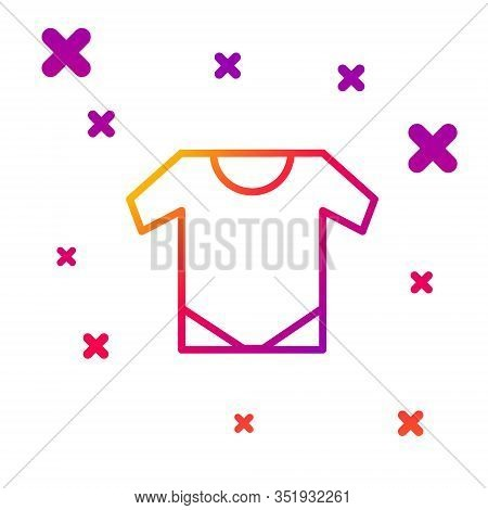 Color Line Baby Onesie Icon Isolated On White Background. Baby Clothes Symbol. Kid Wear Sign. Gradie