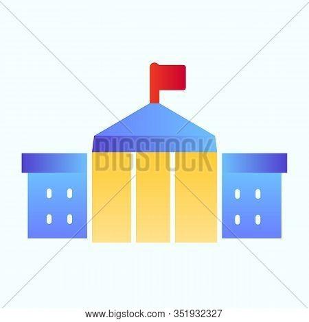 White House Building Flat Icon. Washington Architecture Vector Illustration Isolated On White. Congr