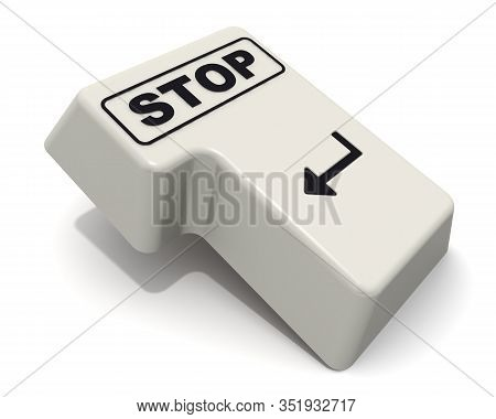 The Enter Key Of Keyboard Labeled Stop. Computer Enter Key Of Keyboard With Black Word Stop Isolated