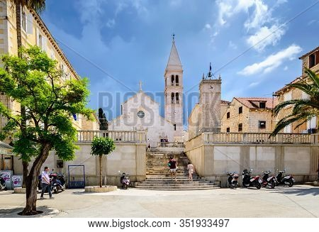 Supetar, Croatia - May 22, 2019: Church Of Saint Peter Or Crkva Sv. Petra In Supetar Town On Brac Is
