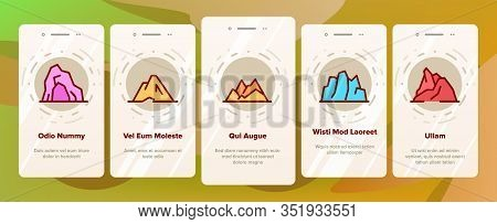 Ridge Onboarding Icons Set Vector. Ridge Peak Climbs For Extreme Sport, Adventure And Expedition Ill