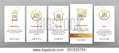 Pest Control Service Onboarding Icons Set Vector. Insects Exterminator And Protection Mask, Bug And
