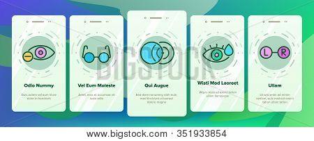 Optometry Eye Health Onboarding Icons Set Vector. Eyeglasses And Doctor Optometry Oculist, Medical E