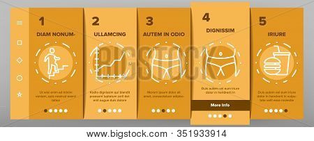 Obesity And Overweight Onboarding Icons Set Vector. Obesity Person And Xxl T-shirt, Unhealthy Food A