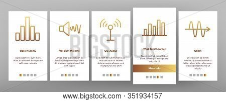 Frequency Pulse Wave Onboarding Icons Set Vector. Microphone And Ear, Radio And Dynamic With Frequen